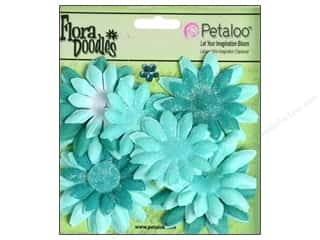 Petaloo FloraDoodles Daisy Layers Small Glitter Aqua Blue