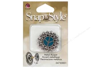 beading & jewelry making supplies: Cousin Snap In Style Accent Metal Peace Teal
