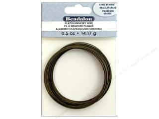 beading & jewelry making supplies: Beadalon Memory Wire Large Bracelet .5 oz. Antique Brass