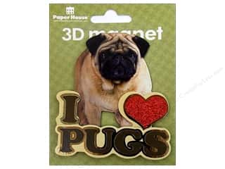 Clearance Paper House Magnet: Paper House Magnet 3D I Love Pugs