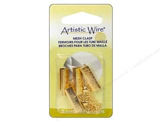 beading & jewelry making supplies: Artistic Wire Mesh Clasp with Extension Chain & Lobster Clasp 3/4 in. 2 pc. Gold