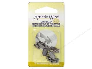 Clasps: Artistic Wire Mesh Clasp with Extension Chain & Lobster Clasp 3/8 in. 2 pc. Hematite (3 packages)