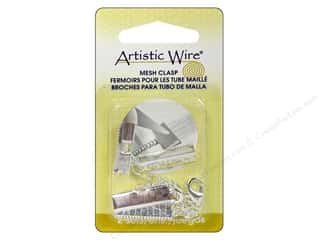 Clearance Artistic Wire Mesh: Artistic Wire Mesh Clasp with Extension Chain & Lobster Clasp 3/4 in. 2 pc. Silver Plated (3 packages)