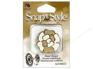 Clearance Cousin Snap In Style Accent: Cousin Snap In Style Accent Metal Flower Tan