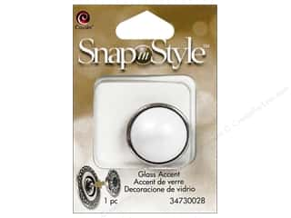 beading & jewelry making supplies: Cousin Snap In Style Accent Glass Pearl White