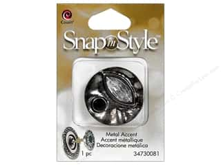 beading & jewelry making supplies: Cousin Snap In Style Accent Metal Facet Abstract