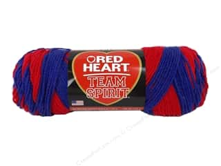 Clearance Red Heart Pomp A Doodle Yarn: Red Heart Team Spirit Yarn #0940 Red/Blue