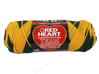 striping yarn: Red Heart Team Spirit Yarn #0948 Green/Gold 244 yd.