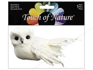 floral & garden: Midwest Design Artificial Birds 3 in. Feather Owl White 1 pc.