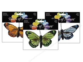 "floral & garden: Midwest Design Butterfly 4"" Feather Clip Assorted 1pc"