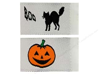 Labels: Tag It Ons Sew On Labels Black Cats Pumpkins Assorted 12pc