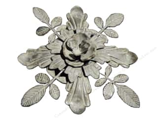 Sierra Pacific Crafts Decor Metal Flower/Leaves Flat Bottom 8.5 in. Grey