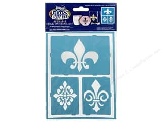 craft & hobbies: DecoArt Americana Gloss Enamels Stick-On Stencils 6 x 8 in. Fleur De Lis