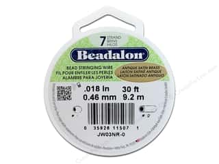 beading & jewelry making supplies: Beadalon Bead Wire 7 strand .018 in. Antique Satin Brass 30 ft.