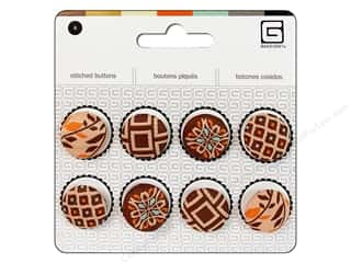 Novelty Buttons: BasicGrey Stitched Buttons 11/16 in. Truffle 8 pc.