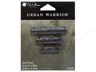 Clearance Blue Moon Pendant: Blue Moon Beads Metal Pendant Urban Warrior Black Nickel Rectangles Focal