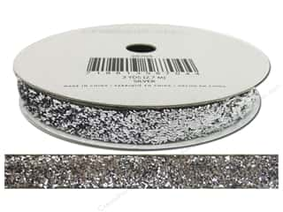 American Crafts Tinsel Ribbon 3/8 in. x 3 yd. Solid Silver