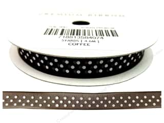 American Crafts Sheer Ribbon with Dots 3/8 in. x 5 yd. Coffee
