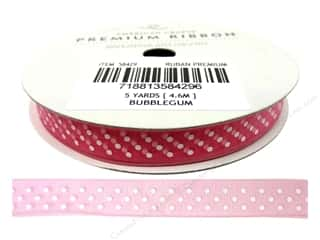 American Crafts Sheer Ribbon with Dots 3/8 in. x 5 yd. Bubblegum