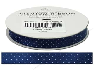 American Crafts Satin Ribbon with Dots 3/8 in. x 5 yd. Denim