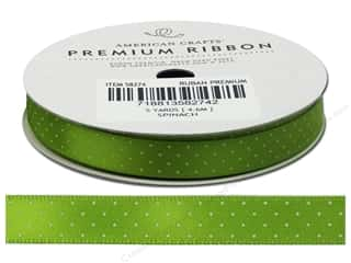 American Crafts Satin Ribbon with Dots 3/8 in. x 5 yd. Spinach