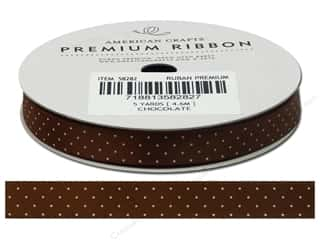 American Crafts Satin Ribbon with Dots 3/8 in. x 5 yd. Chocolate