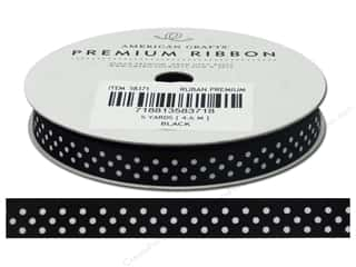 American Crafts Satin Ribbon with Dots 3/8 in. x 5 yd. Black