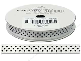 American Crafts Satin Ribbon with Dots 3/8 in. x 5 yd. White