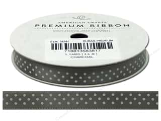American Crafts Satin Ribbon with Dots 3/8 in. x 5 yd. Charcoal