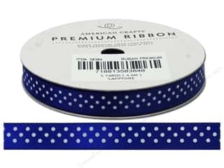 American Crafts Satin Ribbon with Dots 3/8 in. x 5 yd. Sapphire