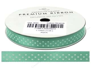 American Crafts Satin Ribbon with Dots 3/8 in. x 5 yd. Aqua