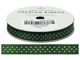 American Crafts Satin Ribbon with Dots 3/8 in. x 5 yd. Pine