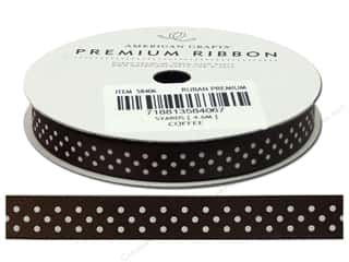 American Crafts Satin Ribbon with Dots 3/8 in. x 5 yd. Coffee
