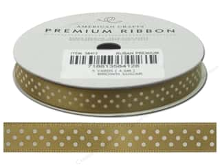 American Crafts Satin Ribbon with Dots 3/8 in. x 5 yd. Brown Sugar