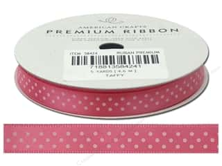 American Crafts Satin Ribbon with Dots 3/8 in. x 5 yd. Taffy