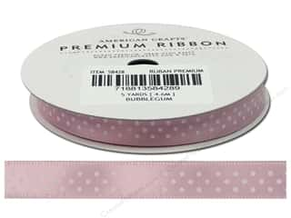 American Crafts Satin Ribbon with Dots 3/8 in. x 5 yd. Bubblegum