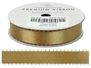 American Crafts Satin Ribbon with Picot 5/8 in. x 3 yd. Brown Sugar