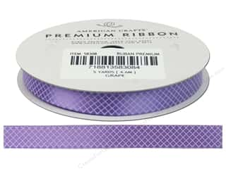 American Crafts Satin Ribbon with Plaid 3/8 in. x 5 yd. Grape