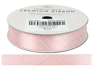 American Crafts Satin Ribbon with Slant Stripe 5/8 in. x 4 yd. Blush