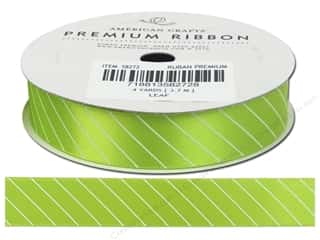American Crafts Satin Ribbon with Slant Stripe 5/8 in. x 4 yd. Leaf