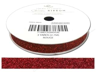American Crafts Glitter Ribbon 3/8 in. x 3 yd. Solid Rouge