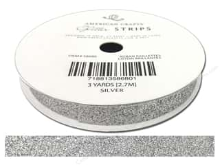 American Crafts Glitter Ribbon 3/8 in. x 3 yd. Solid Silver