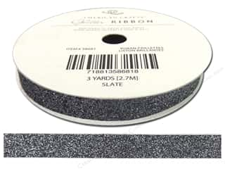 American Crafts Glitter Ribbon 3/8 in. x 3 yd. Solid Slate
