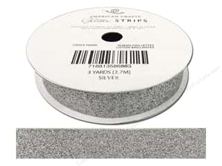 scrapbooking & paper crafts: American Crafts Glitter Ribbon 5/8 in. x 3 yd. Solid Silver