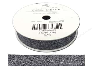 American Crafts Glitter Ribbon 5/8 in. x 3 yd. Solid Slate