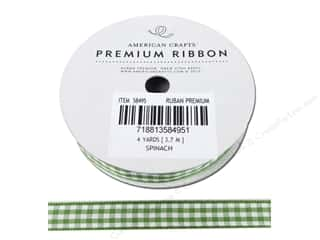 American Crafts Gingham Ribbon 3/8 in. x 4 yd. Spinach & White