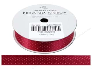 American Crafts Satin Ribbon with Dots 5/8 in. x 4 yd. Scarlet Pomegranate