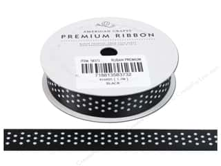 American Crafts Satin Ribbon with Dots 5/8 in. x 4 yd. Black