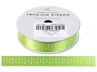 American Crafts Satin Ribbon with Dots 5/8 in. x 4 yd. Leaf