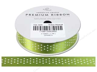 American Crafts Satin Ribbon with Dots 5/8 in. x 4 yd. Spinach